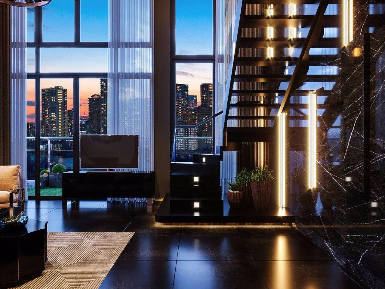 thiết kế cầu thang phòng khách
