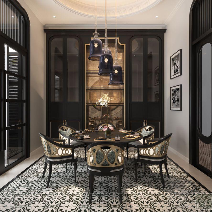 mẫu thiết kế nhà hàng phong cách indochine