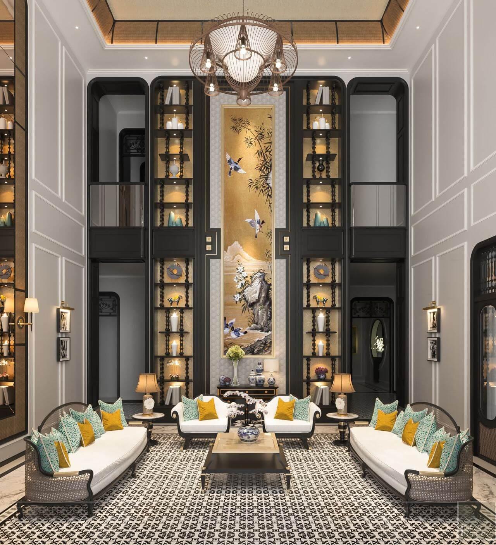 kiến trúc đông dương trong thiết kế nội thất phòng khách