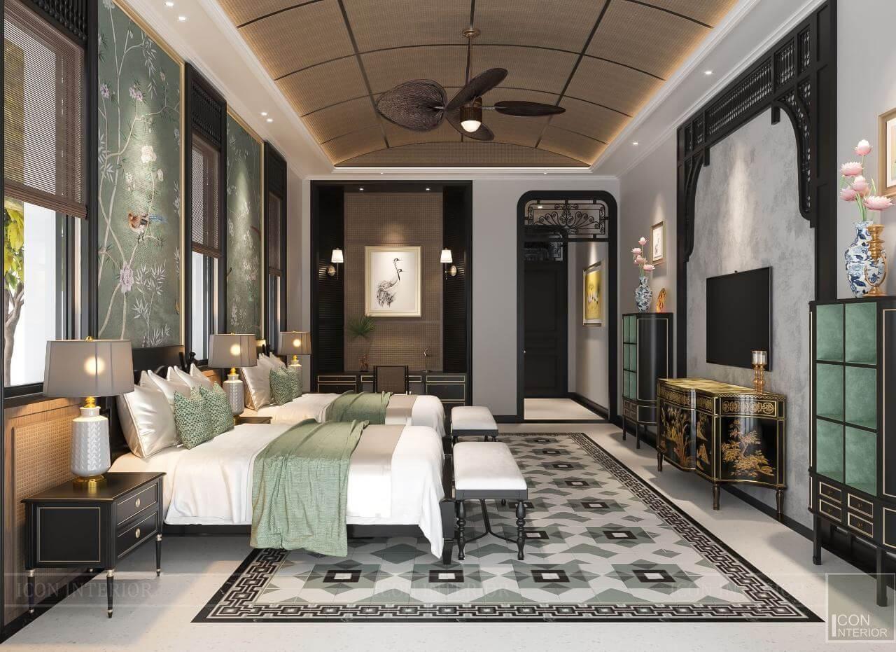 kiến trúc đông dương trong thiết kế nội thất phòng đôi
