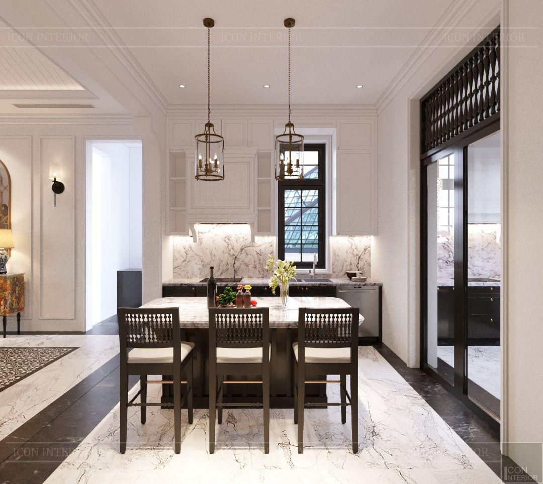 phòng bếp phong cách đông dương hiện đại