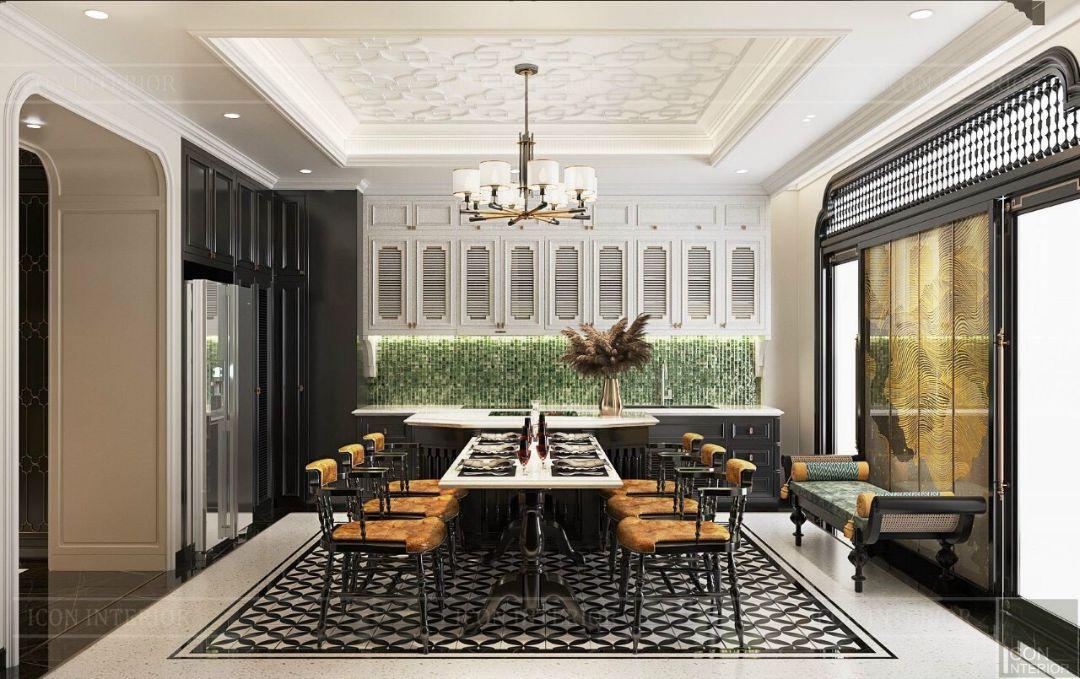 thiết kế nội thất phòng bếp phong cách indochine