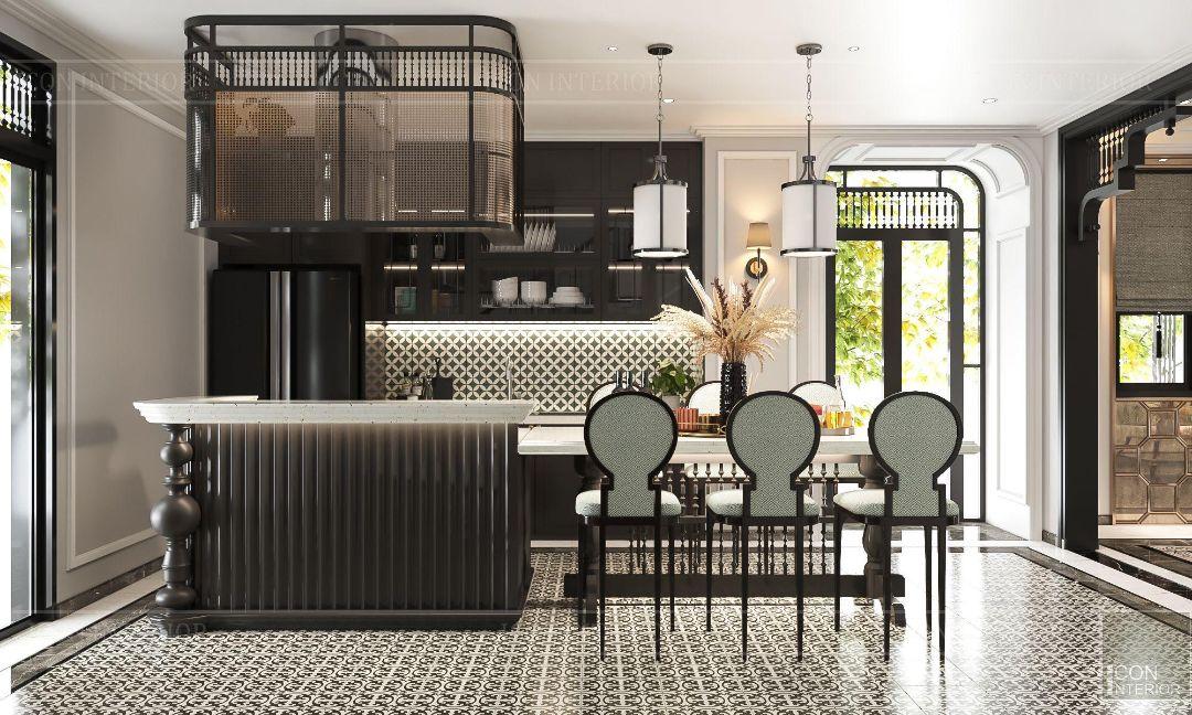 trang trí phòng bếp phong cách indochine