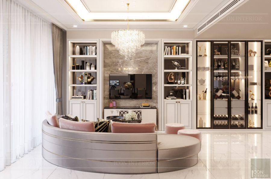 tủ tường phòng khách hiện đại