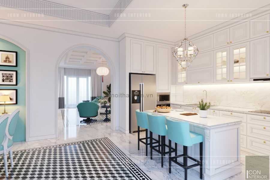 vách ngăn đẹp giữa phòng khách và phòng bếp