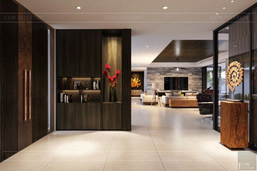 vách ngăn phòng khách và bếp hiện đại