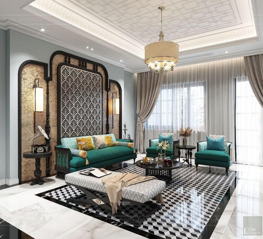 phong cách Indochine trong thiết kế phòng khách